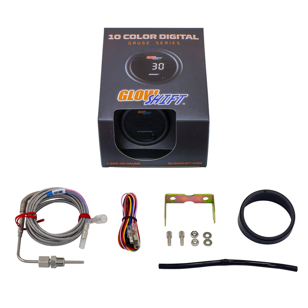 GlowShift 10 Color Digital 2200 F Pyrometer Exhaust Gas Temperature EGT Gauge Kit Multi-Color LED Display 2-1//16 52mm for Car /& Truck Includes Type K Probe Tinted Lens