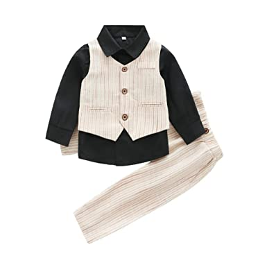 7a6f57e88 Hongyuangl Baby Boys Long Sleeve Shirt + Vest + Trousers 3 Pieces ...