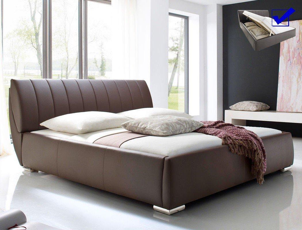 Polsterbett Luanos 180x200 Braun Kunstlederbezug Inkl Lattenrost