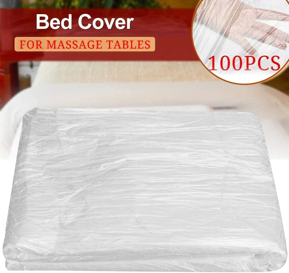 BEYST 100pcs Disposable Bed Sheets, Massage Tables Cover Linens Plastic Drape Sheets for Massage Spa Bed Facial Waxing Protection Body Treatment: Home & Kitchen