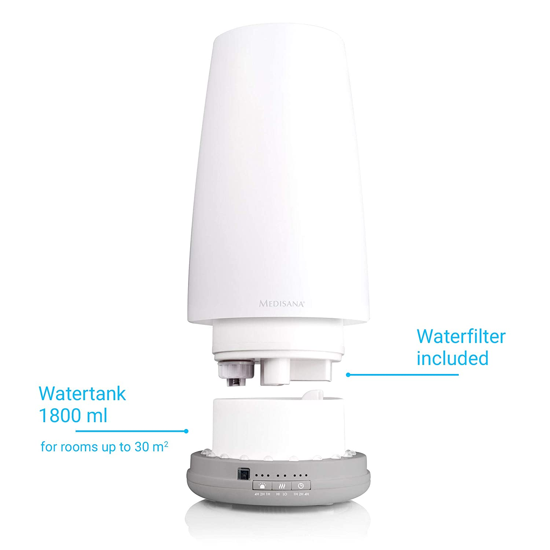 Aromafach und Vorheizfunktion Medisana AH 670 Luftbefeuchter f/ür besseres Raumklima Raumluftbefeuchter f/ür Wohn- und Schlafzimmer f/ür trockene Luft -60054 Luftreiniger mit Ultraschall-Technologie