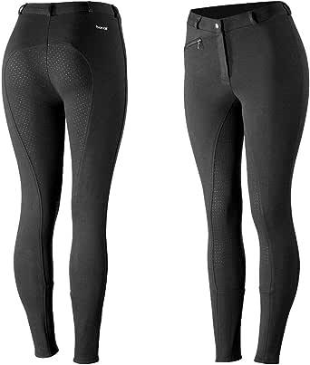 HORZE Pantalones de Montar Active para Mujer con Asiento Completo de Silicona, Bolsillos con Cremallera y bajo elástico, Todas Las Tallas