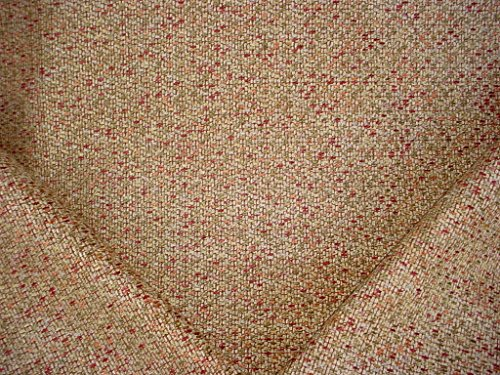 79H1 - Sand / Moss Green / Brick Red / Persimmon / Creme / Mosaic / Basketweave / Check Chenille Designer Upholstery Drapery Fabric - By the ()