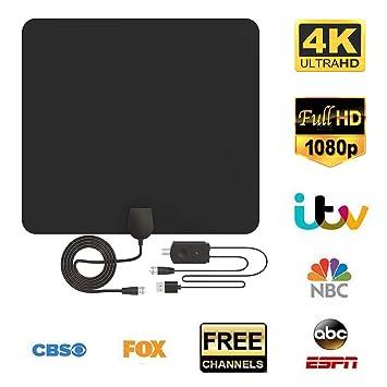 Antena de TV, Antena Interior HDTV con Portatil Amplificador, 60-80 Millas Gama de Recepción, Obtenga Muchos Canales de TV Gratis, Fácil de Usar y ...