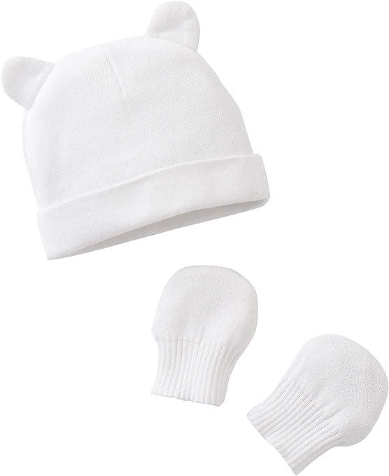 VERTBAUDET Gorro para bebé y manoplas de punto de algodón orgánico Blanco 12/18M - 74/81CM: Amazon.es: Bebé