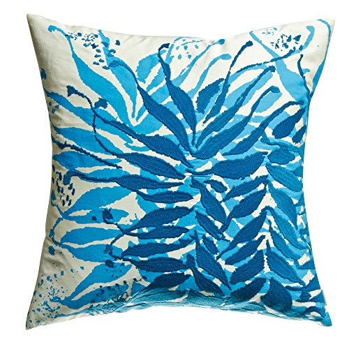 Koko Water Collection Prints and Embroidery Cotton Pillow, 18-Inch by 18-Inch, Blue/Mustard ()