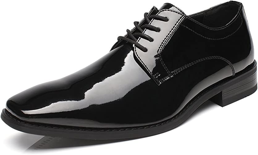 New men/'s dress shoes formal lace oxfords style polished patent leather black