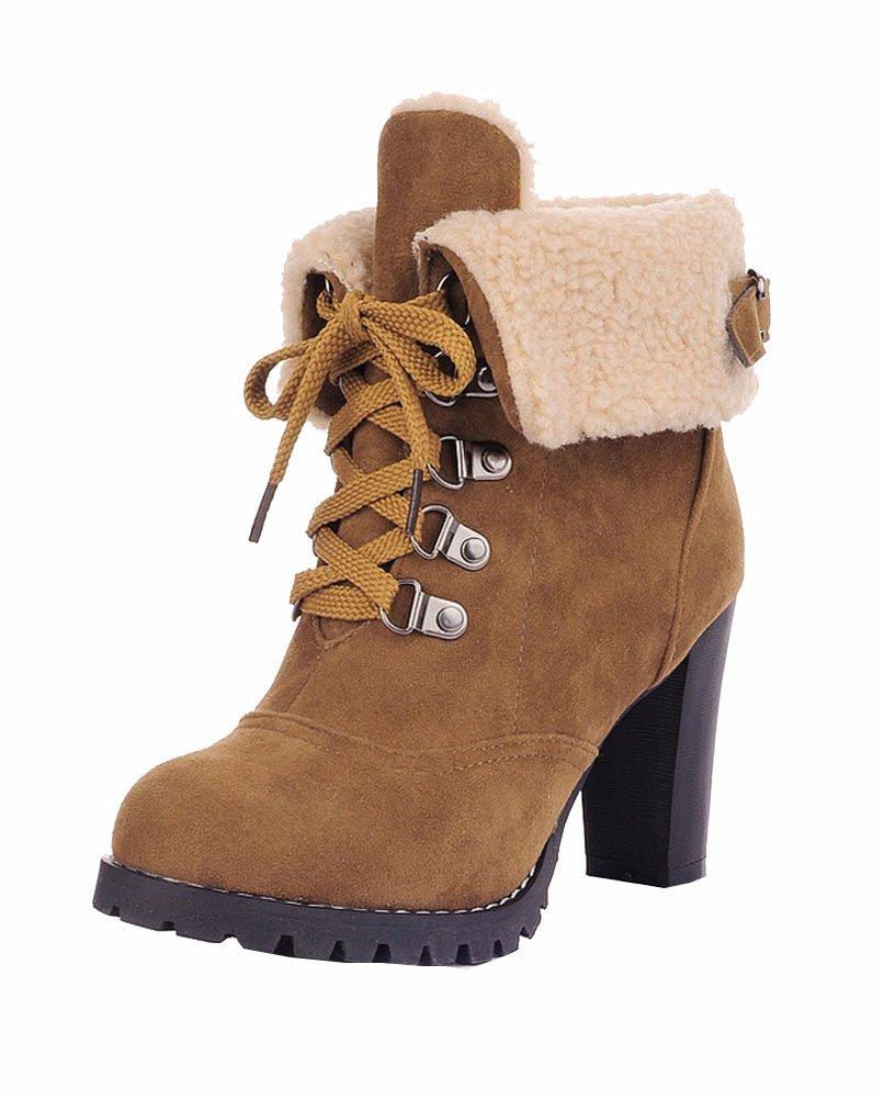 Bottes Mode féminine Pumps Talons cheville lacets à Jaune lacets Bottes de neige Platform Pumps garder femmes bottes chaudes Jaune 3ded84e - automatisms.space