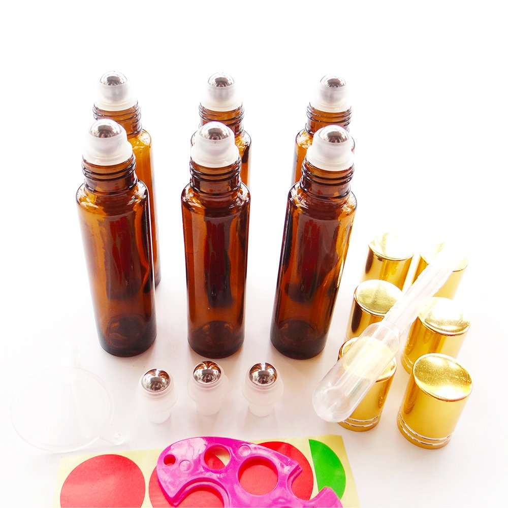 6x 15ml Amber Empty Glass Refillable Cosmetic Containers Stainless Steel Roll-on Bottles for Essential Oil Perfume w/FREE 3ml Droppers, Mini Funnel, Bottle Opener, 3 Roller Balls, 12 Pieces Labels