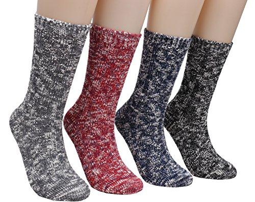 Galsang 4 Pairs Womens Thick Comfortable Winter Vinatge Wool Knit Crew Sock A152