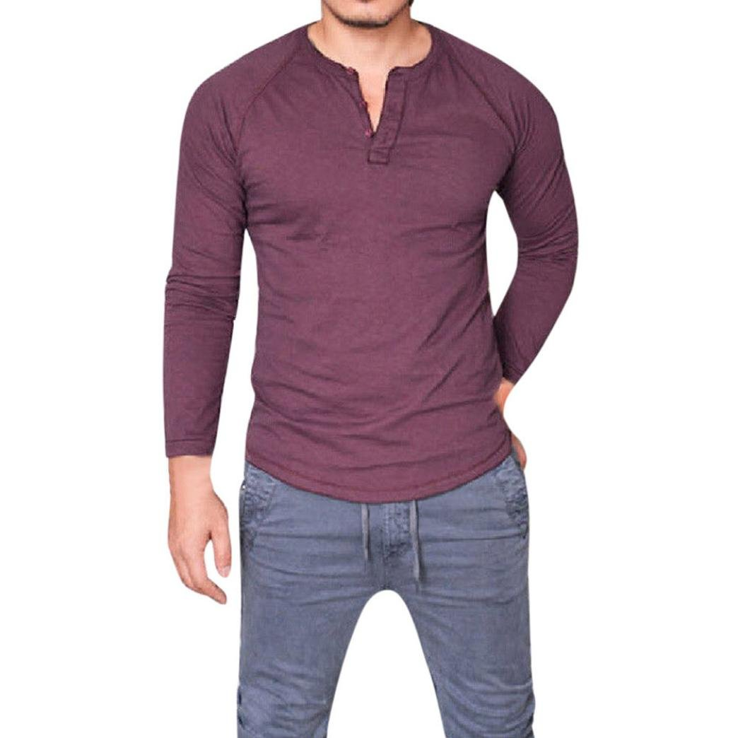 Homme Polo Shirt de Slim Fit V Neck Manches Longues T-Shirt Col à Boutons Tee Shirt Moulant t-Shirt Homme Casual Tops Chemise Covermason
