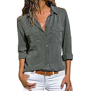 d8c0ae696d6cca Women Shirt TUDUZ Ladies Casual V Neck Roll Long Sleeve Solid Color Button  Down Shirt…