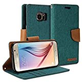 Galaxy S7 Wallet Case, GMYLE Wallet Case Classic for Galaxy S7 - Dark Green & Brown PU Leather Slim Stand Case Cover