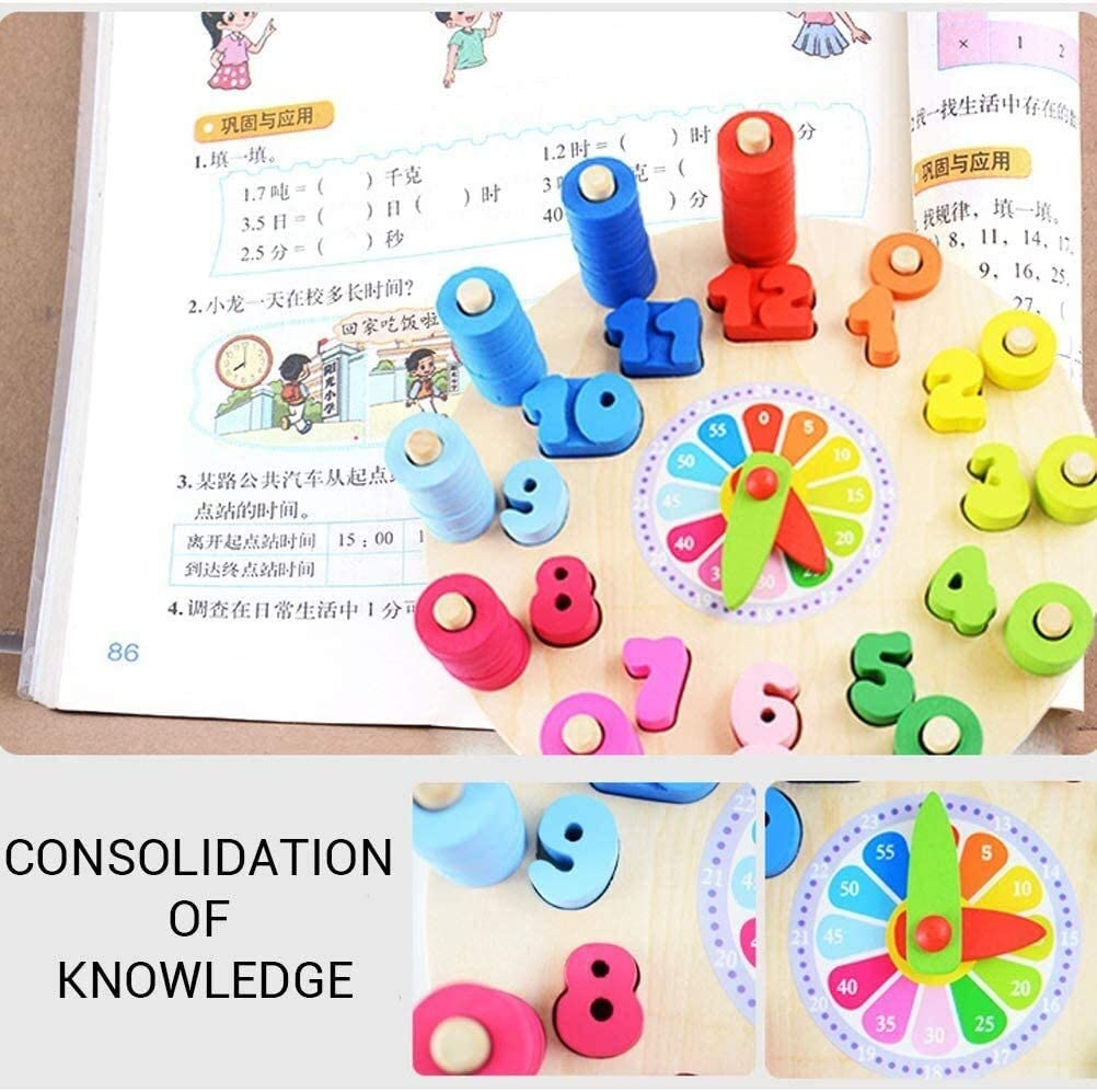 Wooden Shape Color Sorting Clock Learning Clocks Time Learning Number Blocks Educational Toys for Toddlers Boys and Girls Colorful