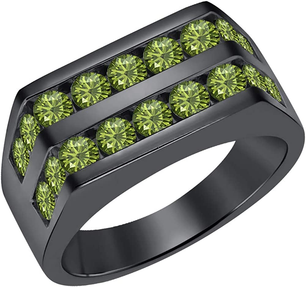 tusakha Mens 14k Black Gold Plated Channel Set Round Green Tourmaline Wedding Band Anniversary Ring 925 Sterling Silver