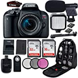 Canon EOS Rebel T7i DSLR Camera with Canon EF-S 18-55mm f/4-5.6 IS STM Lens + LED Light + Microphone + Video Accessory Bundle