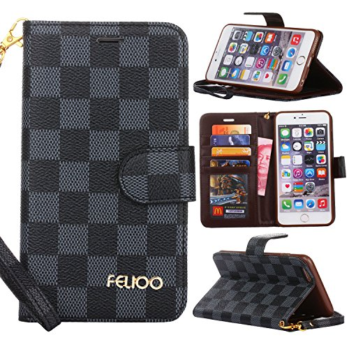 iPhone 5 Case,GX-LV iPhone 5S 5C SE Case Luxury Leather Wallet Detachable Wrist Strap Flip Cover Case with Card Slots for Apple iPhone 5/5S/5C/SE,Black