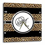 3dRose dpp_180682_1 Elegant Cheetah Animal Print Monogram Letter M Wall Clock, 10 by 10″