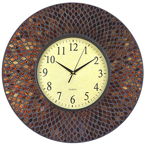 LuLu Decor, 19 Amber Comb Mosaic Wall Clock with Black Cement, Arabic Number Glass Dial 9.5 for Living Room Office Space