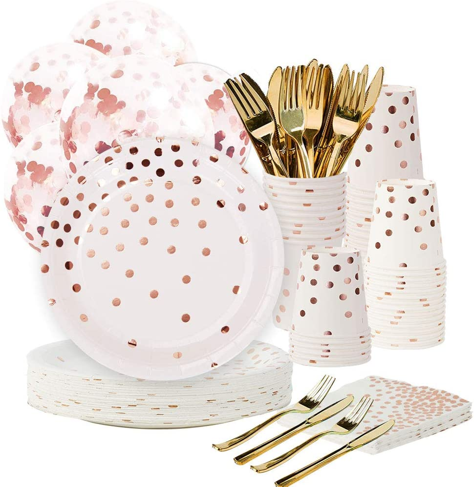 """Rose Gold Party Supplies Set - 168PCS Rose Gold Paper Plates Disposable Dinnerware Set Dots 7"""" & 9"""" Paper Plates Napkins Cups Forks Knives Balloons Serve 24 Birthday Party Wedding Baby Shower"""