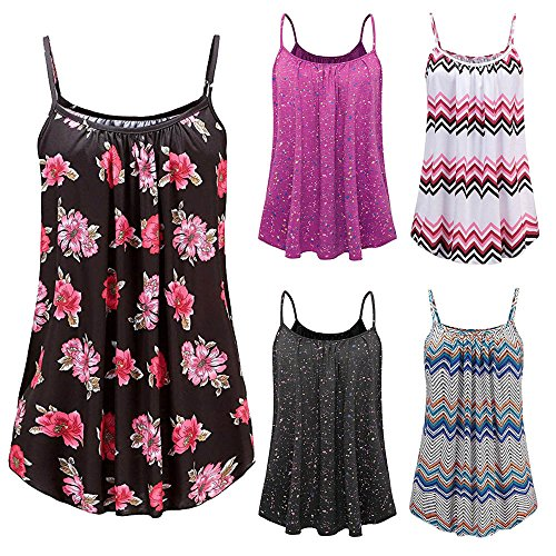 Women's Plus Size Summer Tanks Printed O-Neck Sleeveless Sling Vest Blouse Tank Tops Dress Camis Clothes (Multicolor, 3XL) by Aurorax Dress (Image #5)