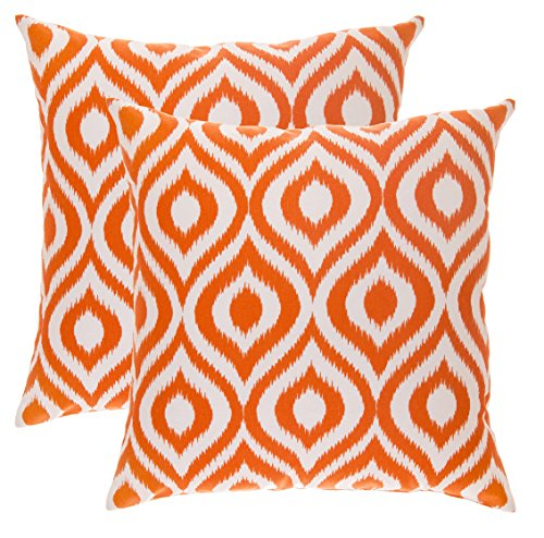 TreeWool, (Pack of 2) Ikat Ogee Accent Throw Pillow Covers in Cotton Canvas (18 x 18 Inches; Orange & White)