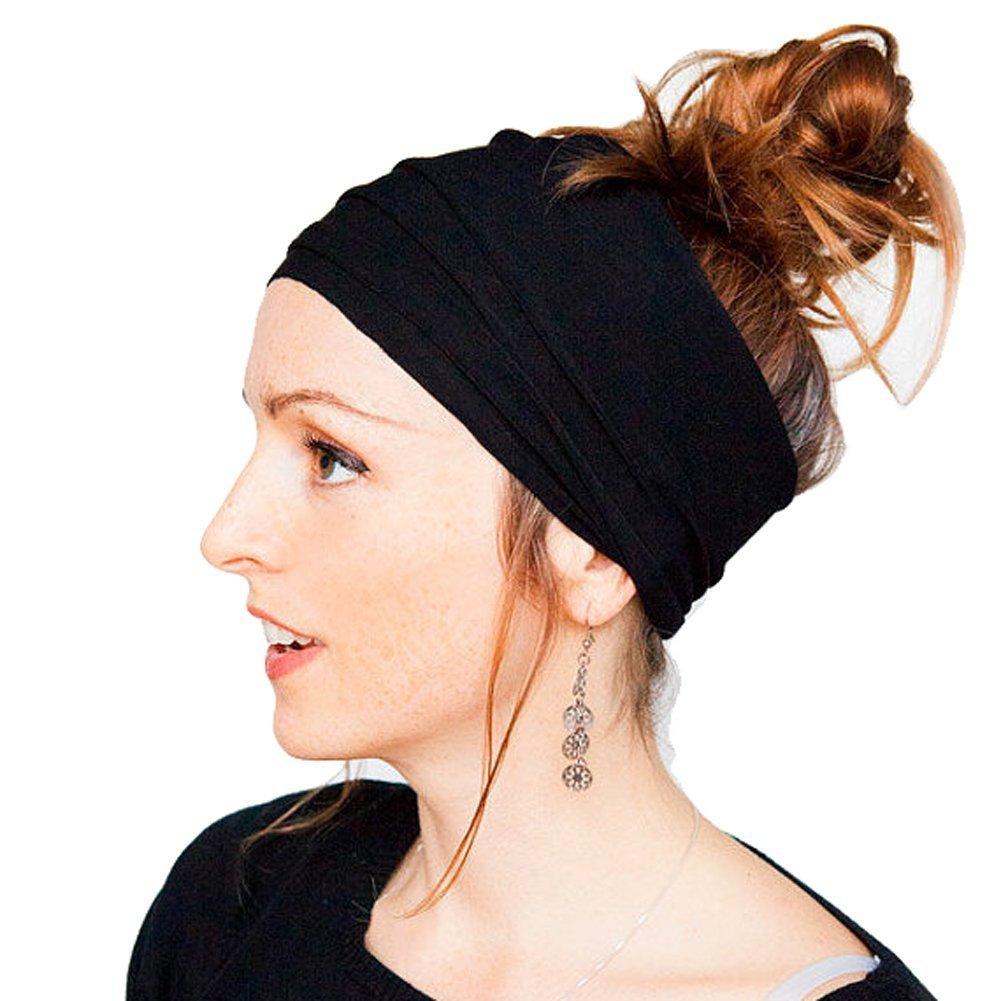 HugeStore Femme Mode Maman Bandeau Cheveux Accessoire Cheveux Serre-Tete Cheveux Headbands Headgear Head wrap Turban Noir