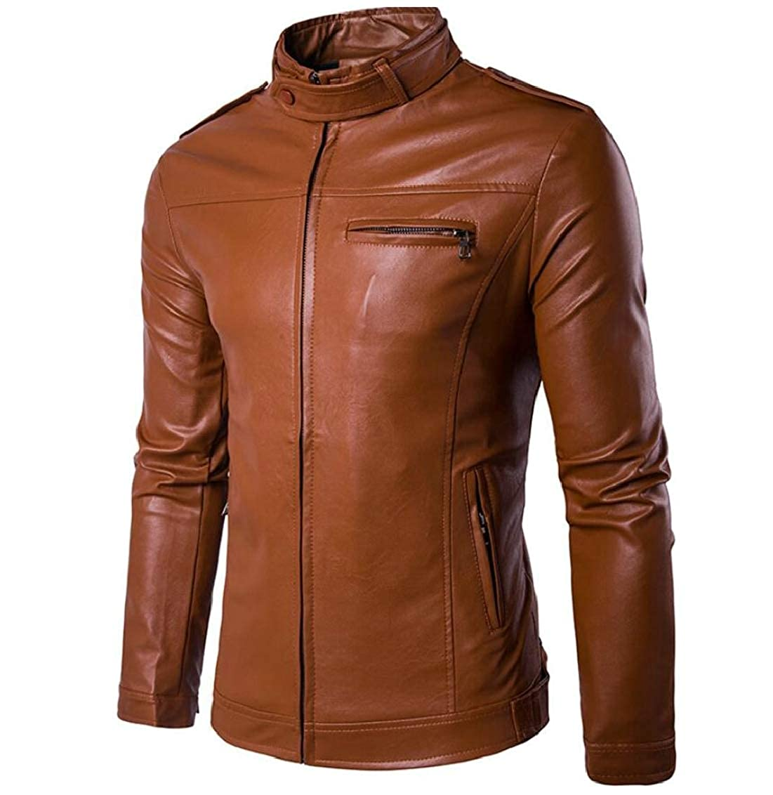 Yellow TD-CACA Men's Zipper Solid Stand Collar PU Leather Motorcycle Jacket Outwears