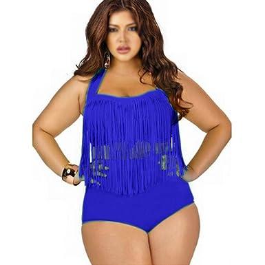 713e5b90cad98 SODIAL(R) PLUS SIZE Big and Beautiful Womens Retro Fringe Tassel High  Waisted Bikini Push Up Bandeau Rockabilly Swimwear Swimsuit Blue XL.