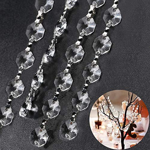 Beads Ornament - Elinq 16.5 Feet DIY Clear Garland Acrylic Crystal Bead Chain with Butterfly Buckle Hanging Ornament for Christmas Wedding Party Home Lamp Tree Decoration