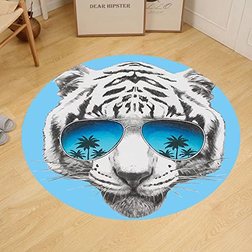Gzhihine Custom round floor mat Animal Hand Drawn Portrait Tiger with Mirror Sunglasses Palm Trees Reflection Bedroom Living Room Dorm Grey Sky Blue Dark Blue by Gzhihine