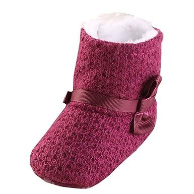 YanHoo Zapatos para niños Botas de Punto Suave de algodón más algodón Bebé Tejer algodón Botas