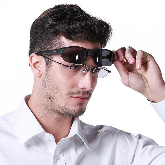 cd2429b2842 DUCO Semi Rimless Sunglasses for Prescription Eyewear Polarized Sunglasses  8953T(Black Frame Gray Lens