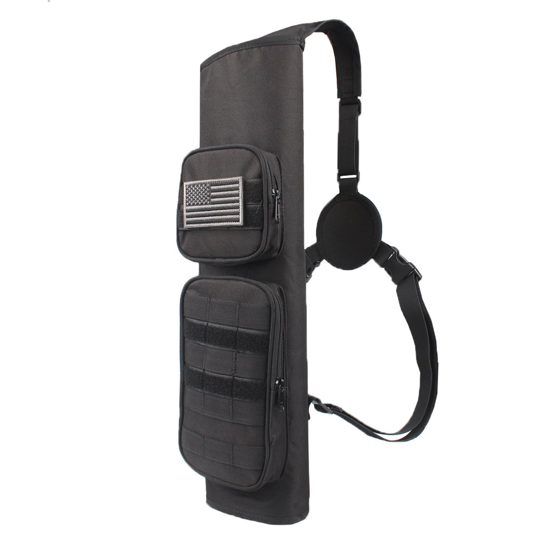 KRATARC Archery Back Arrows Quiver Bag with Molle System and Pockets for Hunting Shooting Target Practice (Black- molle Design)