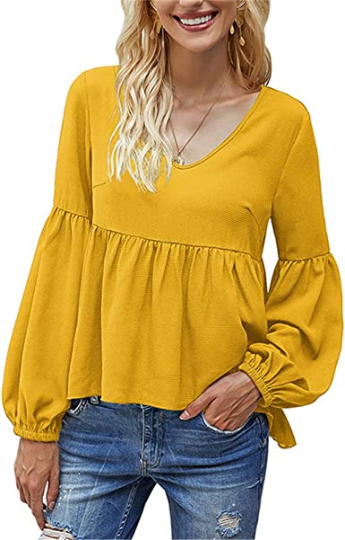 Womens Solid Color Shirt Lantern Sleeve Long Sleeve Top High ...