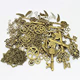 Arts & Crafts : LolliBeads 230 Gram Antiqued Bronze/Silver Metal Skeleton Keys and Wings, Bronze Steampunk Watch Gear Cog Wheel, Chains, Clasps and Jump Rings DIY Kits (300 Pcs)