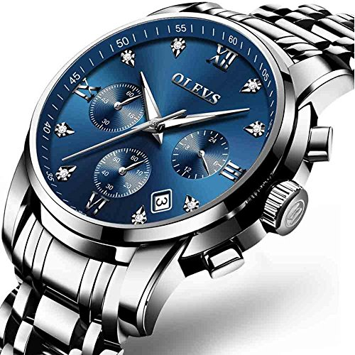 Big Date Automatic Watch - Mens Automatic Watches Men Full Steel Quartz Analog Wrist Watch Men Luxury Brand Chronograph Sports Waterproof Watches, Calendar 2018 Casual Watch for Men,Blue Dial,Big Face,Date and Day Watch