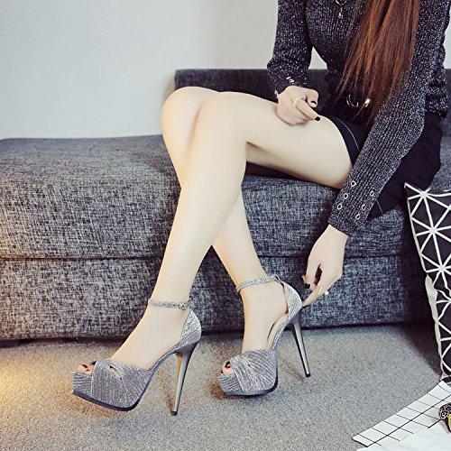 GTVERNH Chaussures pour femmes/été/13Cm Creusés Chaussures À Talons Hauts Femme Boucles Sandales Les Talons De Tableaux Mince Bouche De Poisson De Chaussures. silvery rl1e99Ko