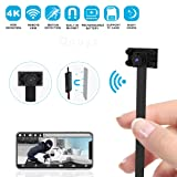 Hidden Camera Spy Camera Wireless Hidden WiFi Camera - 4K HD Small Nanny Cam Mini Camera - DIY Camera 2500mAh Home Security Camera with Night Vision/Motion Detection, App Supports iOS/Android/PC (Tamaño: S)