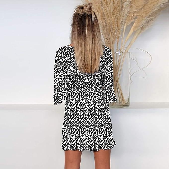 Briskorry Vestido de Manga Corta Falda con Cuello en V Faldas Mini de Impresión Skirt de Mujer Elegante Falda de Cola de Pescado: Amazon.es: Ropa y ...