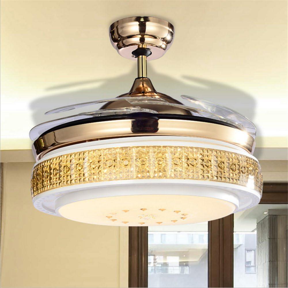aorakilights 42 inch ventiladores de techo con luces LED para interior y exterior para salón o dormitorio de cristal ...