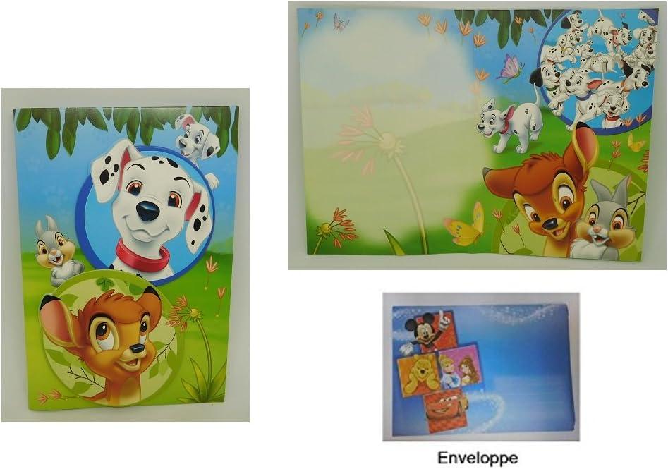 Disney Geburtstag Umschlag Neu OVP Dalmatiner//Bambi 3D Karte