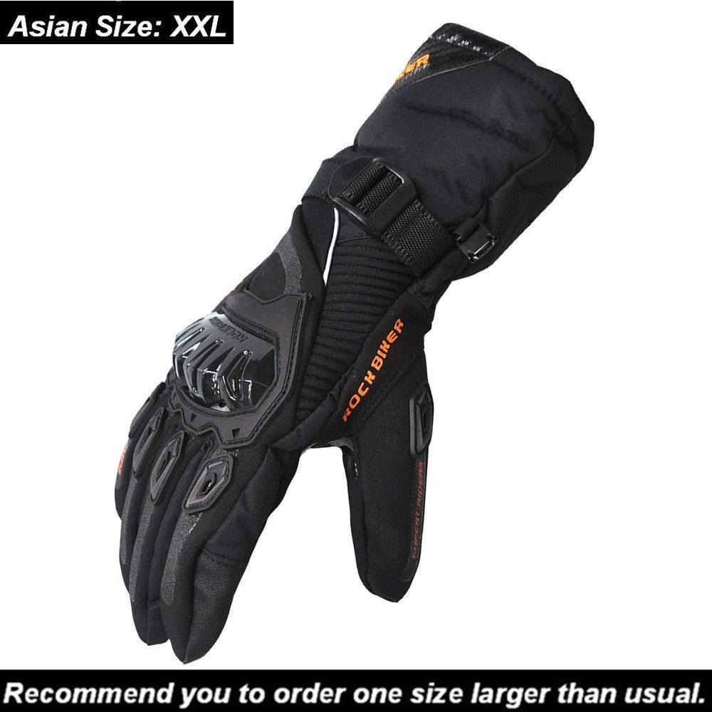 KEMIMOTO Winter Motorcycle Gloves Warm Touch Screen Gloves Waterproof Windproof (XX-Large, Black)