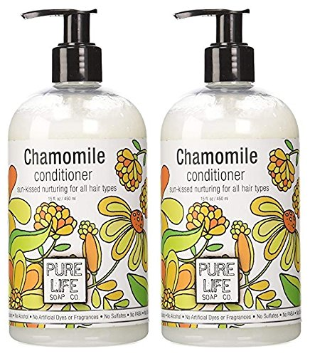 Pure Life Soap Co. Chamomile Conditioner (Pack of 2) With Chamomile Extract, Aloe Vera, Sesame Oil, Soy Protein, Brown Rice, Vitamin C, Certrimonium Chloride, Vitamin A and E, 15 fl. - Soap Life Pure Conditioner