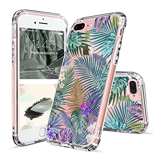 iPhone 7 Plus Case, iPhone 8 Plus Case, Clear iPhone 7 Plus Case, MOSNOVO Tropical Palm Tree Leaves Clear Design Printed with TPU Bumper Case Cover for iPhone 7 Plus - Transparent Palm Tree