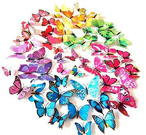 (LiveGallery 72 PCS 6 Colors Removable 3D DIY Beautiful Butterfly Wall Decals Colorful Butterflies Art Decor Wall Stickers Murals for Kids Baby Boy Girls Bedroom Classroom Offices TV Background )