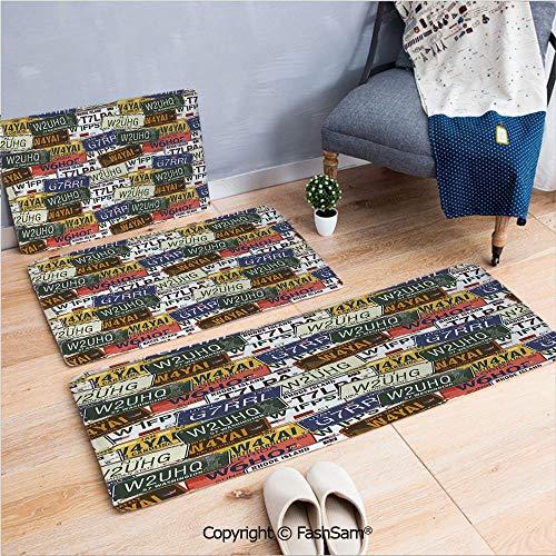 3 Piece Flannel Bath Carpet Non Slip Retro American Auto License Plates Utah Washington Rhode Island North Carolina Print Front Door Mats Rugs for Home(W15.7xL23.6 by W19.6xL31.5 by W17.7xL53)
