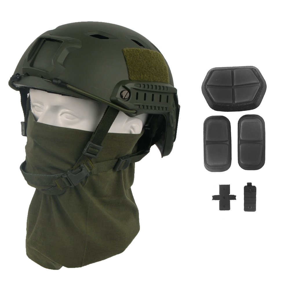 LOOGU Fast BJ Base Jump Military Helmet with 12-in-1 Headwear (OD) by LOOGU