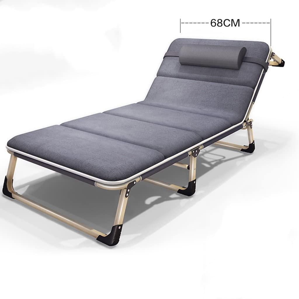 Lazy sofa LI Jing Shop - Individual Simple Fold Chaise Longue Office Nap Bed Silla de Playa Outdoor Portable Caregiver Bed Invisible Couch (Color : Gray -3)