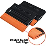 Ehdis Pro-Tint Bondo Car Squeegee Decal Vinyl Wrap Window Tint Application Tool Double Suede Soft Felt for Edge Scraper 4 Inch - 2 Pcs